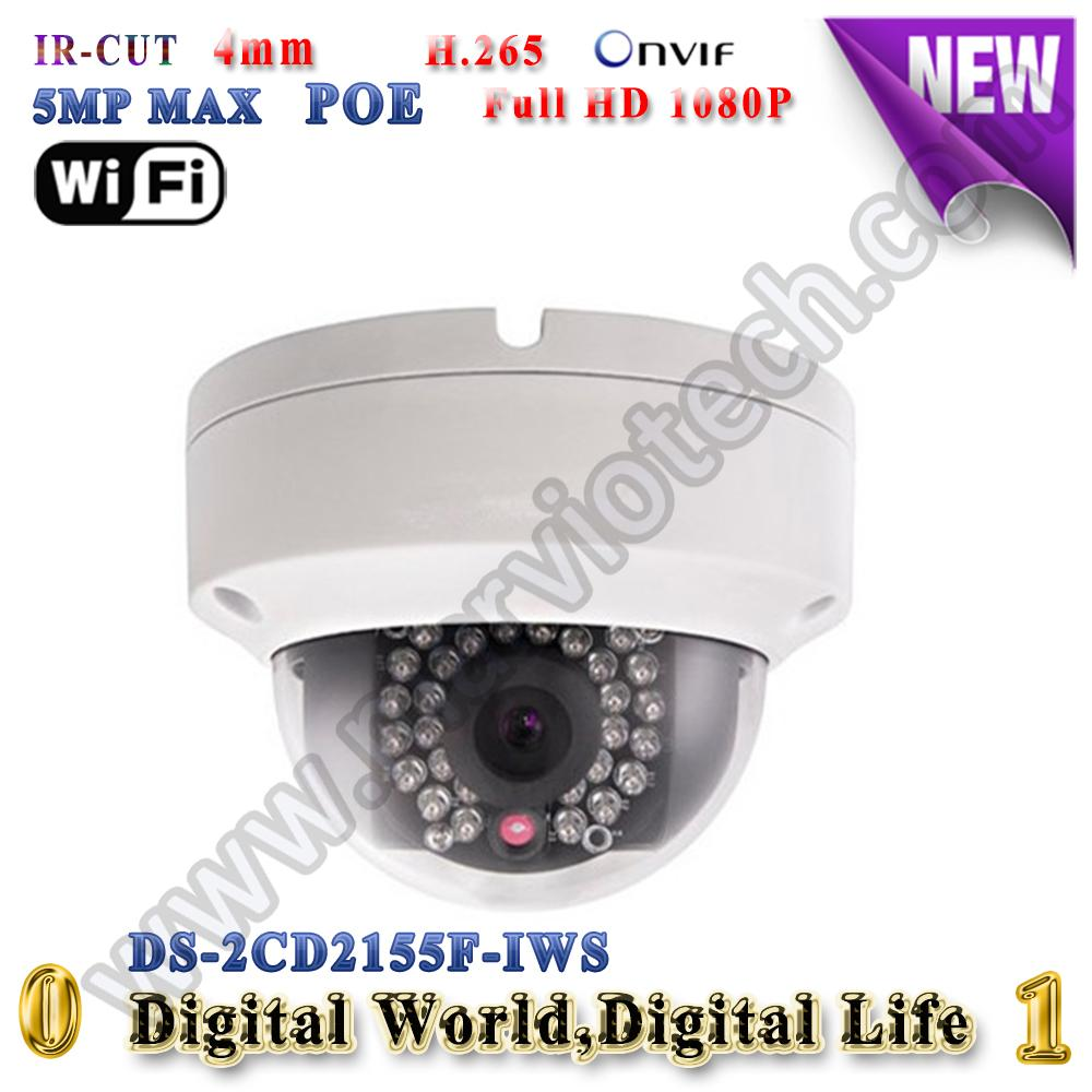 DS-2CD2155F-IWS hikvision ip camera wifi 5mp poe ip cameras outdoor Video Surveilance camera wi-fi audio alarm TF Card Slot