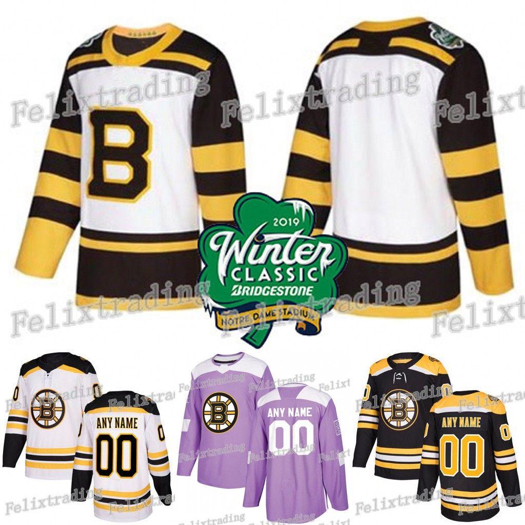 official photos 0357c 0b8d7 Boston Bruins 2019 Winter Classic David Pastrnak Patrice Torey Krug Brad  Marchand David Backes Zdeno Chara Fights Cancer Jersey