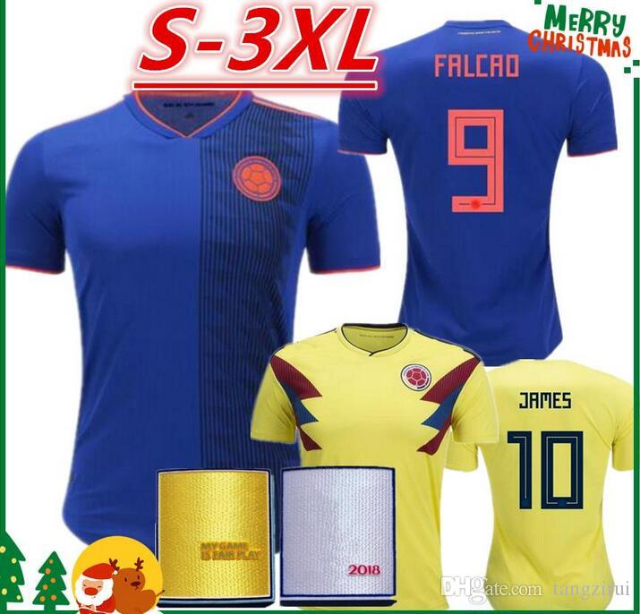 2525da825 2018 Colombia Soccer Jerseys Russia World Cup Home Away Jersey 10 ...