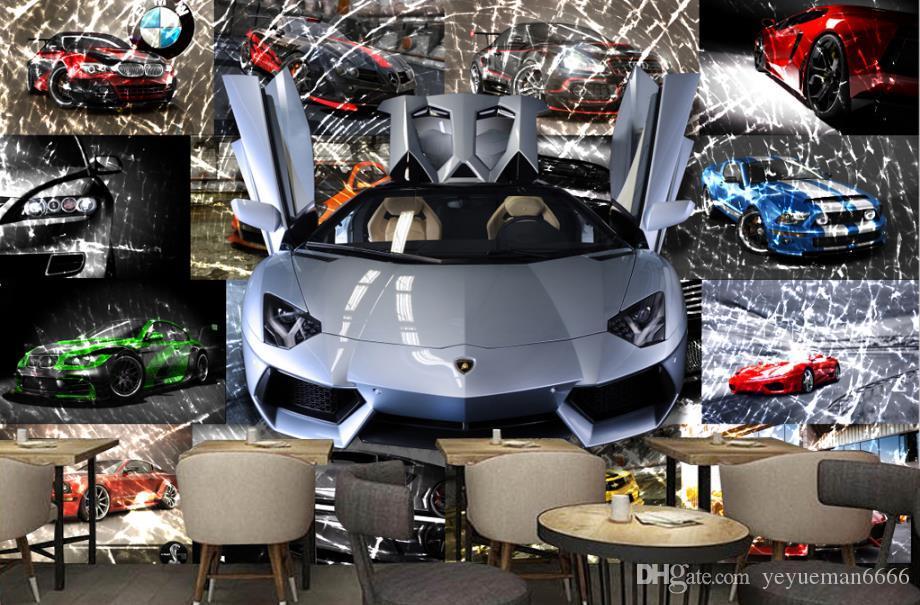 3D صور خلفيات سيارة رياضية كسر الزجاج جدارية بار KTV ديكور جدار خلفية خلفية مجسمة 3D جدارية