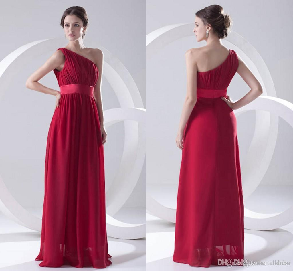 Actual Pictures Dark Red Cheap Chiffon Bridesmaid Dress One Shoulder Backless Maid of Honor Wedding Guest prom dresses party Cheap Long