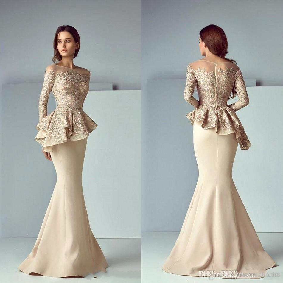 Champagne 2018 Mermaid Mother of Bride Dresses Lace Applique Ruffles Mother Of the Bride Dresses Long Sleeves Formal Evening Gowns