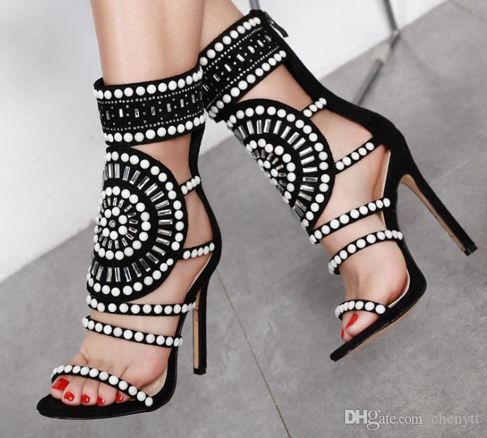 ff3859207b7d7e 2018 Summer New Fashion Hollow Water Drill High Heel Sandals Female ...