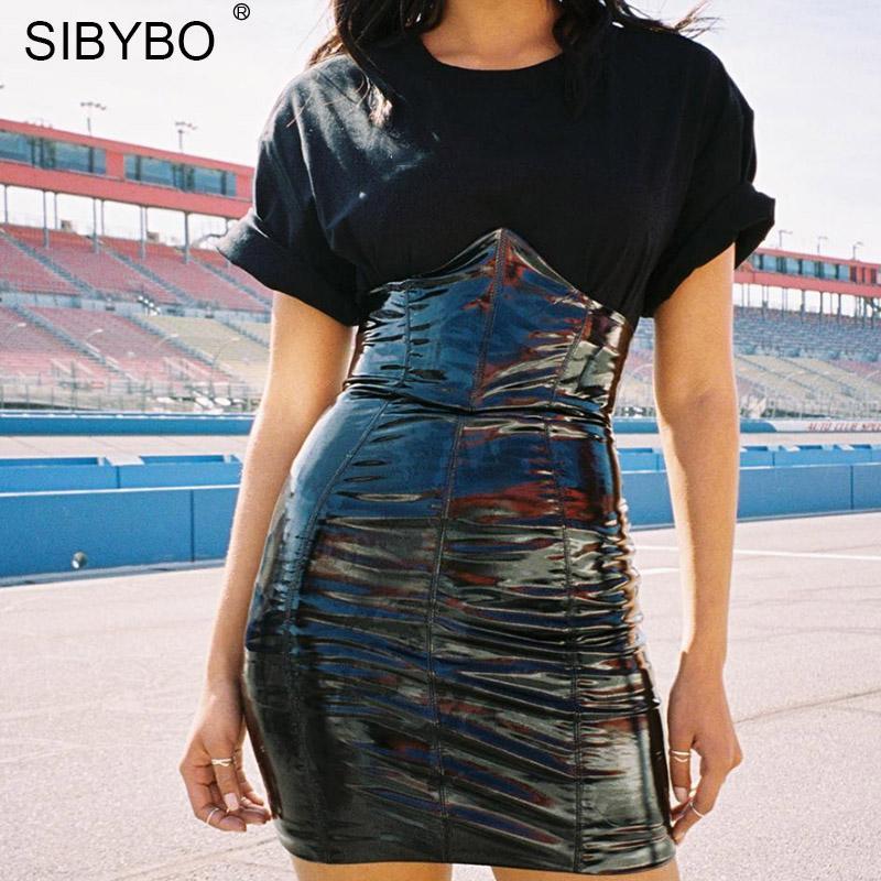dde8f1f90 Sibybo cintura alta de cuero de la PU faldas atractivas para mujer moda  cremallera vaina de verano Mini falda de las mujeres 2018 negro faldas  cortas ...