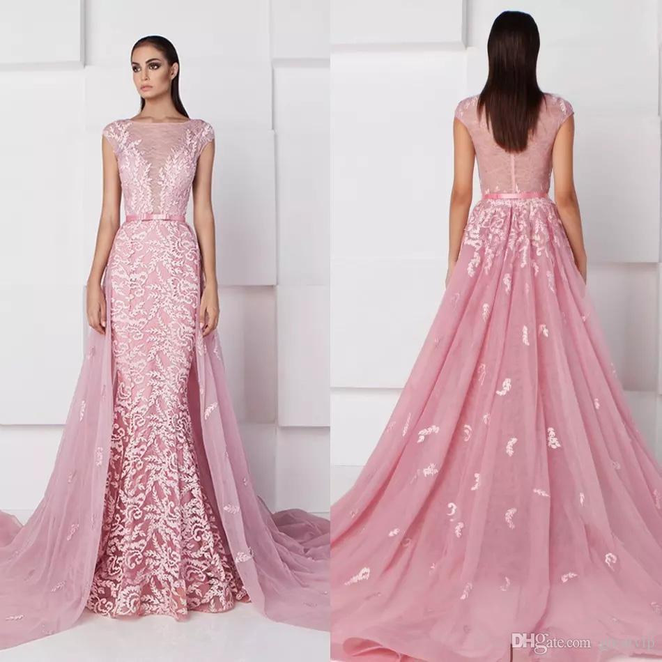 Compre Saiid Kobeisy 2019 Sirena Rosa Vestidos De Noche Desmontable ...