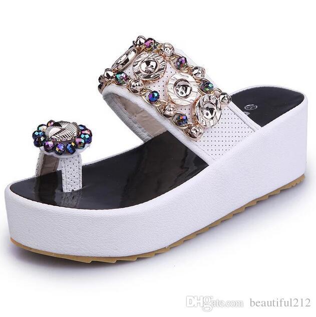 d06afdad84539e 2018 HOT SALE New Rhinestone Women s Slipper Platform Sandals Women Fashion  Summer Beach Shoes Slippers Wholesale High-heeled Slippers Waterproof  Platform ...