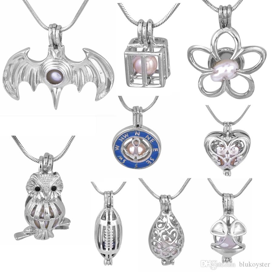 18KGP Silver Love Wish Natural Pearl Cage Pendant Owl/Compass/New Heart/Treasure Chest/Rugby/Batman Fashion Charm Pendants T12