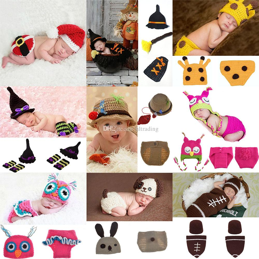 Newborn Crochet photography Sets Baby Photography Props Xmas knit costume  Cartoon Halloween Christmas infant Cosplay clothing 16styles C5105