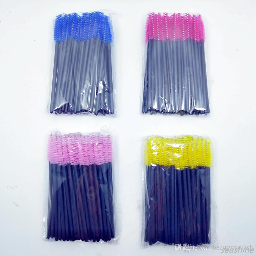 Seashine / lote Rosa Varitas de rímel desechables Mini Pinceles para pestañas Aplicador de varilla de rímel Cepillos en espiral para maquillaje de pestañas