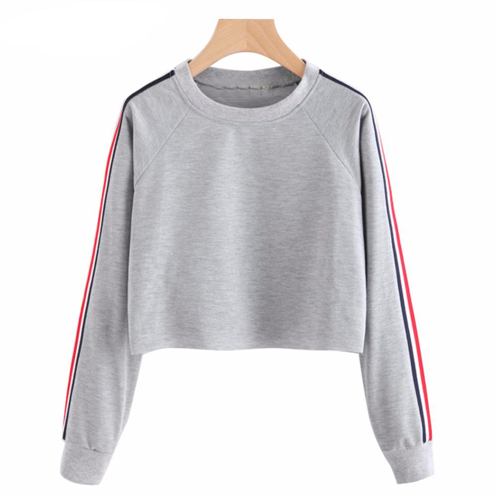 210f373a9a5a 2019 Women Crop Top Hoodie 2018 Spring Casual Long Sleeve Pullover Striped Sweatshirts  Female Hoodies Cropped Sweatshirt Sudadera From Vanilla01