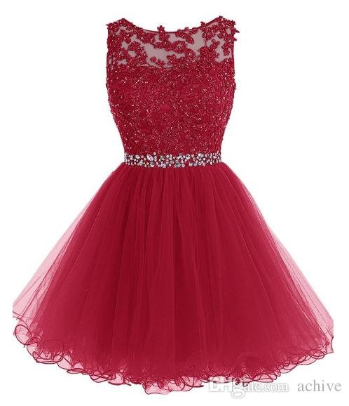 Real Lace Beaded Homecoming Dresses 2018 Sequined Appliques Red Cocktail Gowns Short Prom Dresses Backless Semi Formal Gown