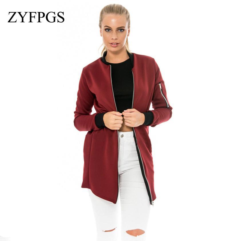 4ead8e5d59c56 ZYFPGS 2018 Plus Size Autumn Women s Jacket Classic Hip Jacket ...