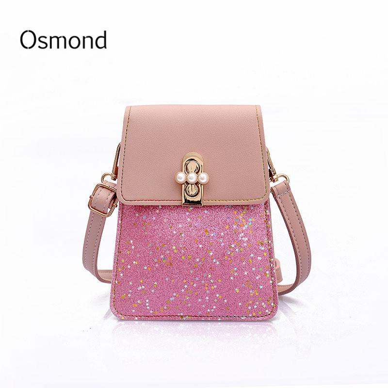 Osmond New Design Shining Sequins Panelled Mini Shoulder Bag Girls Fashion  Korean Pearls Lock Messenger Bag Female Small Flap Stone Mountain Handbags  ... 57f6e625d39a5