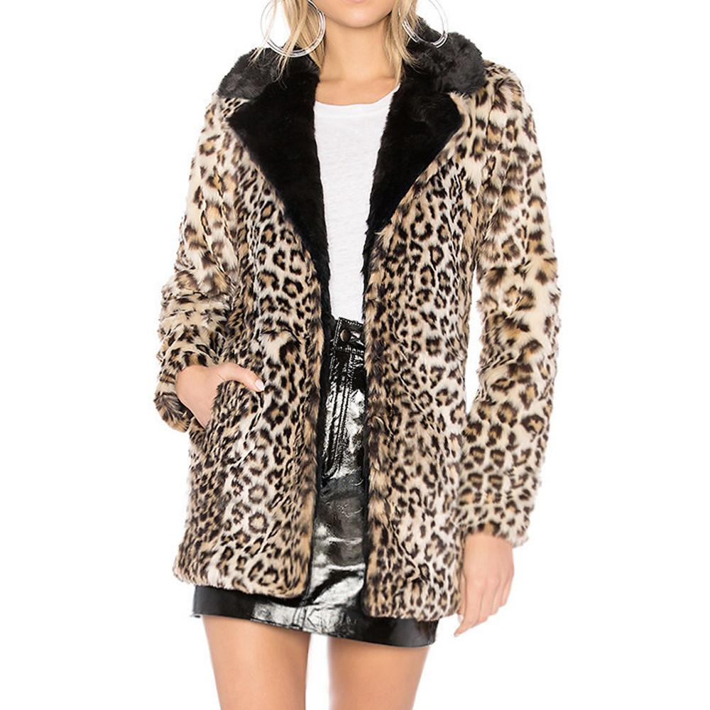 42f3680edec3 2019 ISHOWTIENDA Faux Fur Coat Women 2018 Leopard Print Long Autumn Winter  Faux Fur Jacket Coat Casual Overcoat Manteau Femme Hiver From Beenlo, ...