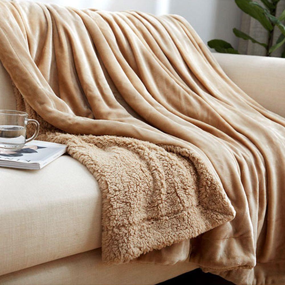 Yazi Fashion Sherpa Blanket Warm Thick Throw Coverlet Reversible