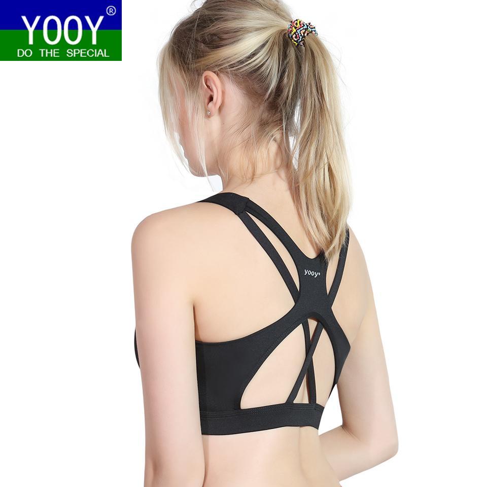 2ac532da86 YOOY Backless Sports Bra Top Fitness Bras Women Strappy Brassiere ...