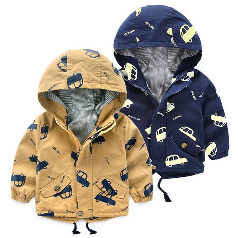 2017 jungen Mädchen Jacken Kinder Herbst Kleidung Baby Jungen Mäntel Kinder Mit Kapuze Autos Print Jacke Kleinkind Frühling Oberbekleidung Kleidung