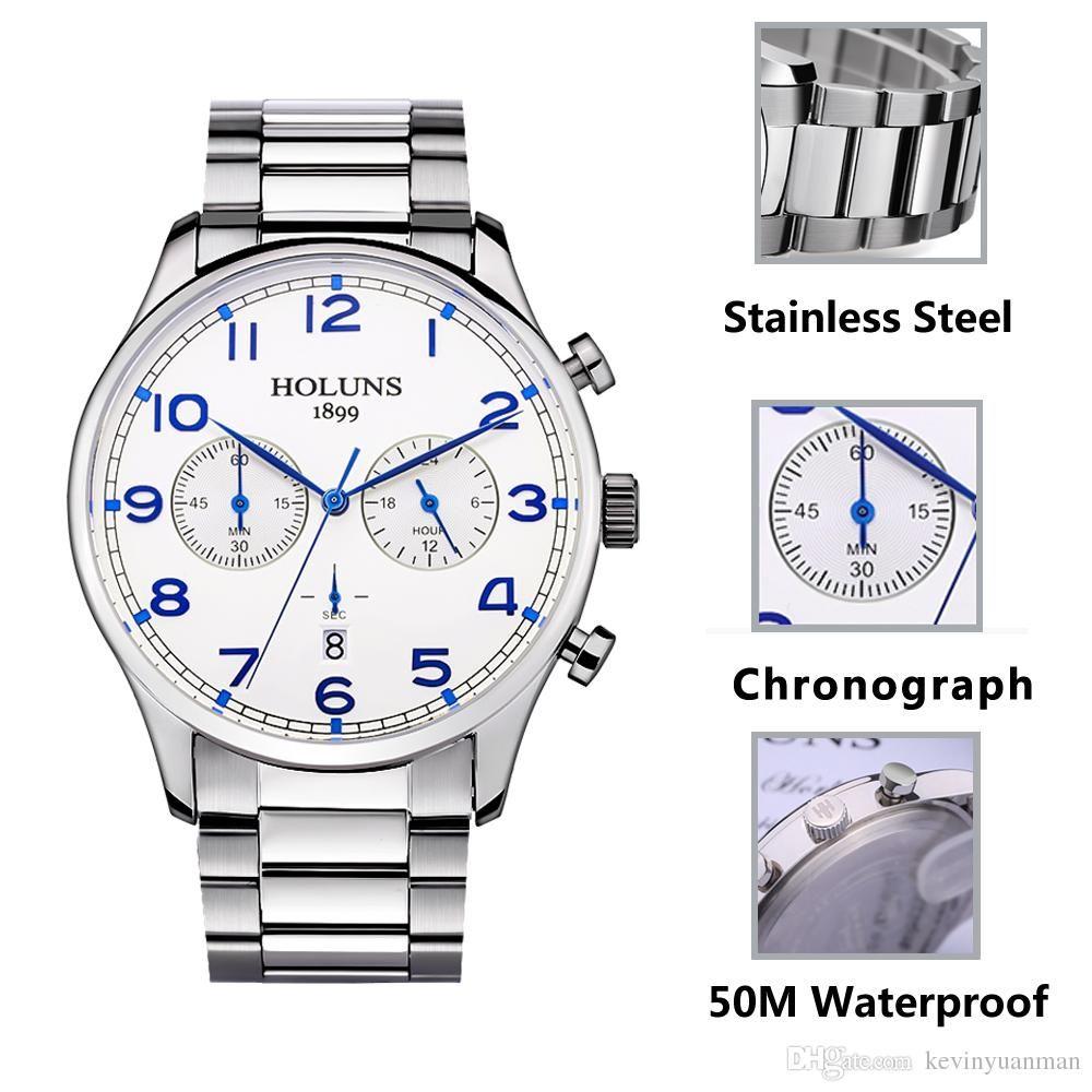 Kol Top Acero Erkek Casual Relojes Holuns Inoxidable Brand Hombres Reloj Relogio De Luxury Cuarzo Pulsera Masculino Sport Saati 45cA3jLRqS