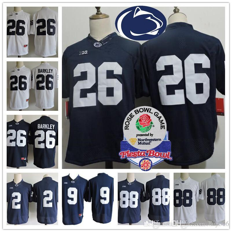 Penn State Nittany Lions # 26 Maillot de football universitaire Saquon Barkley 9 Trace McSorley 2 Marcus Allen 88 Maillots Mike Gesicki Blue White Rose