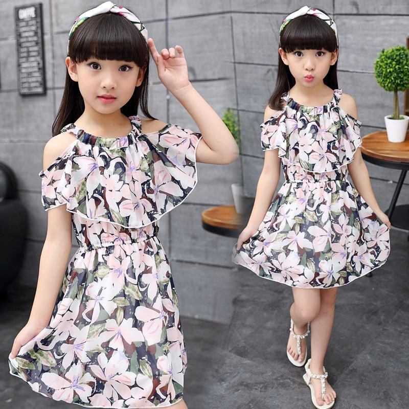 b887d1d93312 2019 Big Girls Chiffon Dress Teenagers Dress Little Girls Dresses Summer  2018 Kids Girl Clothes Size For 3 4 5 6 7 8 9 10 11 12 Years From  Guoli0005