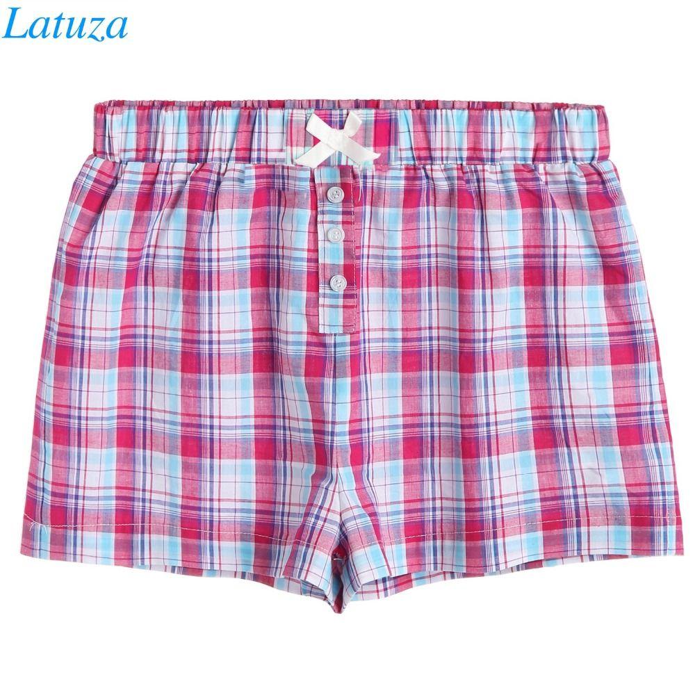 edfd71ef6cb6 2019 Summer Cute Pajama Shorts Women Cotton Plaid Print Bowknot Elasticband  Fitness Plus Size Lounge Home Shorts Sleep Pyjama Bottoms From Tutucloth