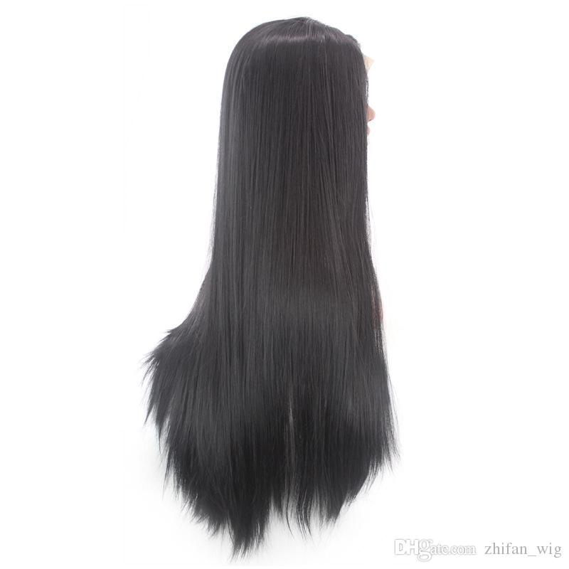 Z&F Black 80 CM Long Silky Straight Lace Front Wig Natural Hairline White Black Women Synthetic Lace Front Wigs