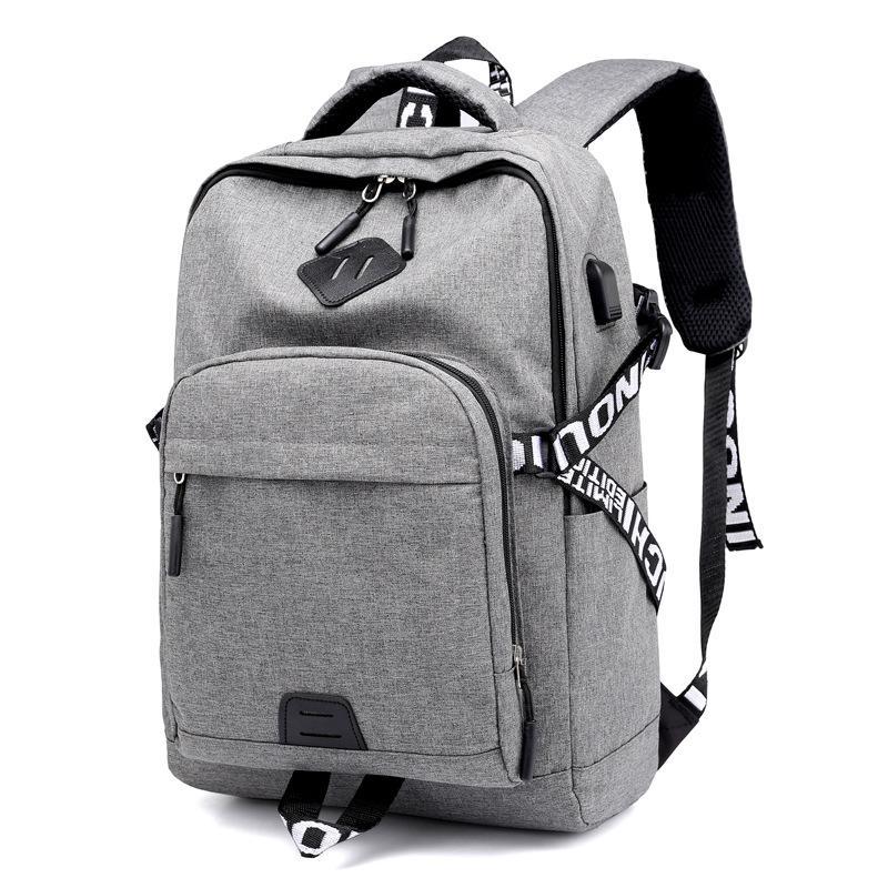 b24202b9f35cc Satın Al Gençler Için Rahat Kadın Erkek Sırt Çantası Okul Çantaları Tuval  USB Şarj Dizüstü Sırt Çantaları Seyahat Sırt Çantası Geri Paketi Çantası,  ...