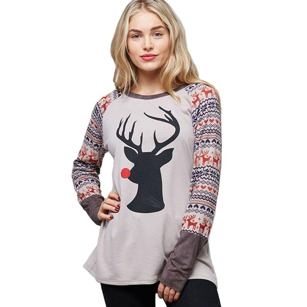 76da222ac69f 2018 New Fashion Autumn Women T Shirt Christmas Reindeer Print O Neck Long  Sleeve Shirt Casual Tee Top Black/Light Coffee/White T Shirt Shop Design  Crazy T ...