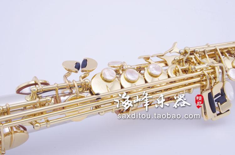 Yüksek Kaliteli Pirinç Müzik Aletleri Kopya Japonya YANAGISAWA S9930 B B Soprano Saksafon Gümüş Kaplama Sax Durumda, ağızlık