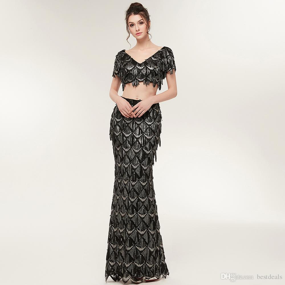 Yeni Varış Lüks Siyah İki Adet Gelinlik Mermaid Boncuk Kristal Balo Abiye Kadınlar Arapça Parti Elbise CPS935