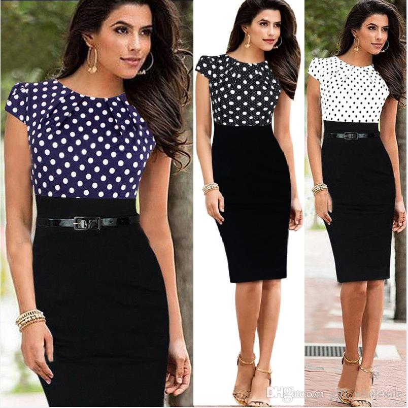 d4787211767c 2019 New European And American Star With Stitching Dresses, New Cocktail Pencil  Skirt, Professional Party Dress Work Dresses With Belt From Gift_wholesale,  ...