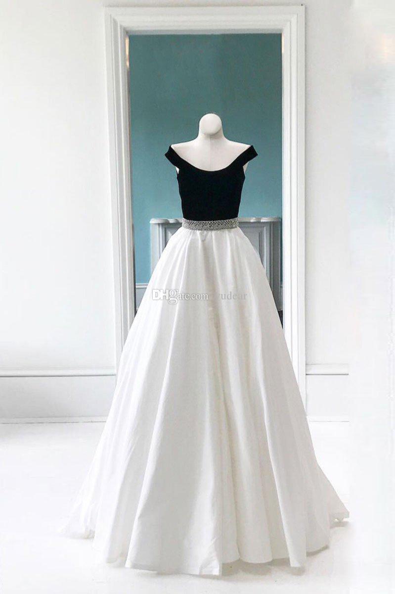 2019 fuera del hombro moda mujer vestidos de baile una línea de vestidos de noche en blanco y negro verano sin espalda por encargo vestido de fiesta vestido de mucama