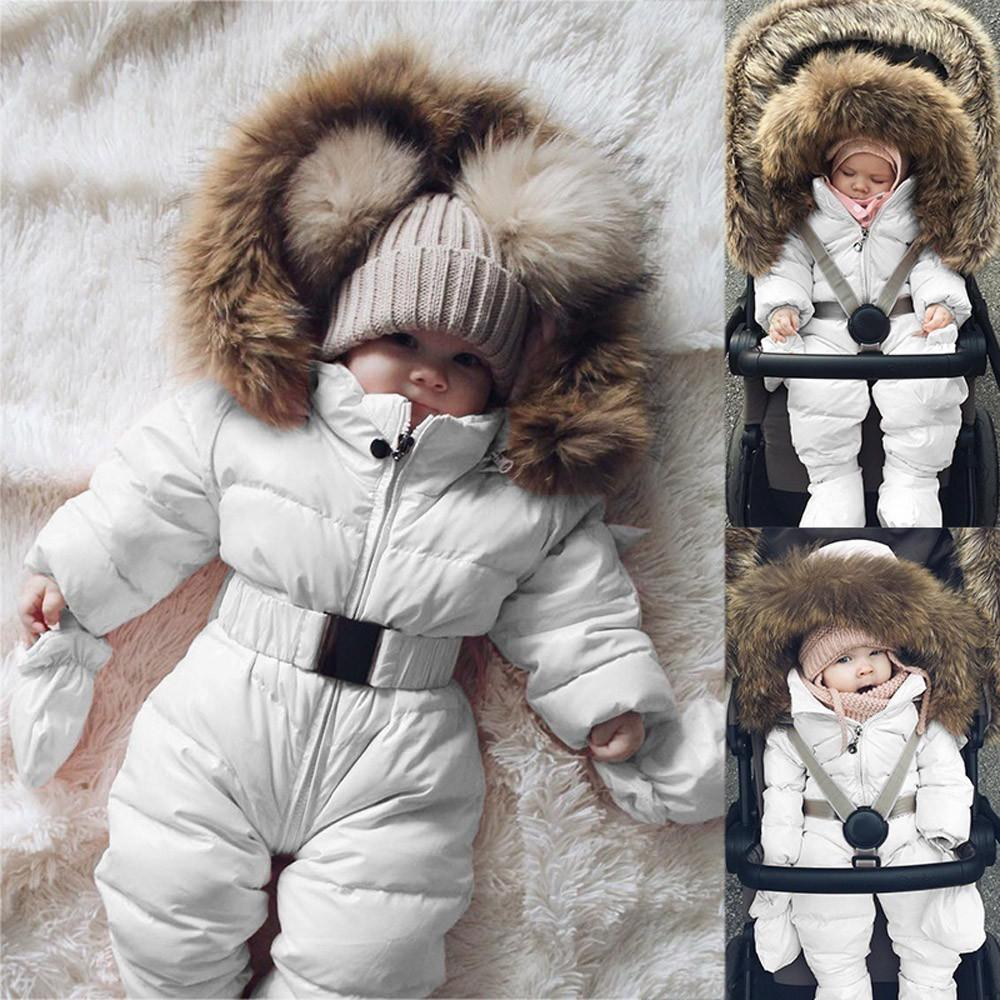 2a79d2591 Baby Down Parkas Hooded Romper Jacket Jumpsuit Warm Thick Coat Tops ...