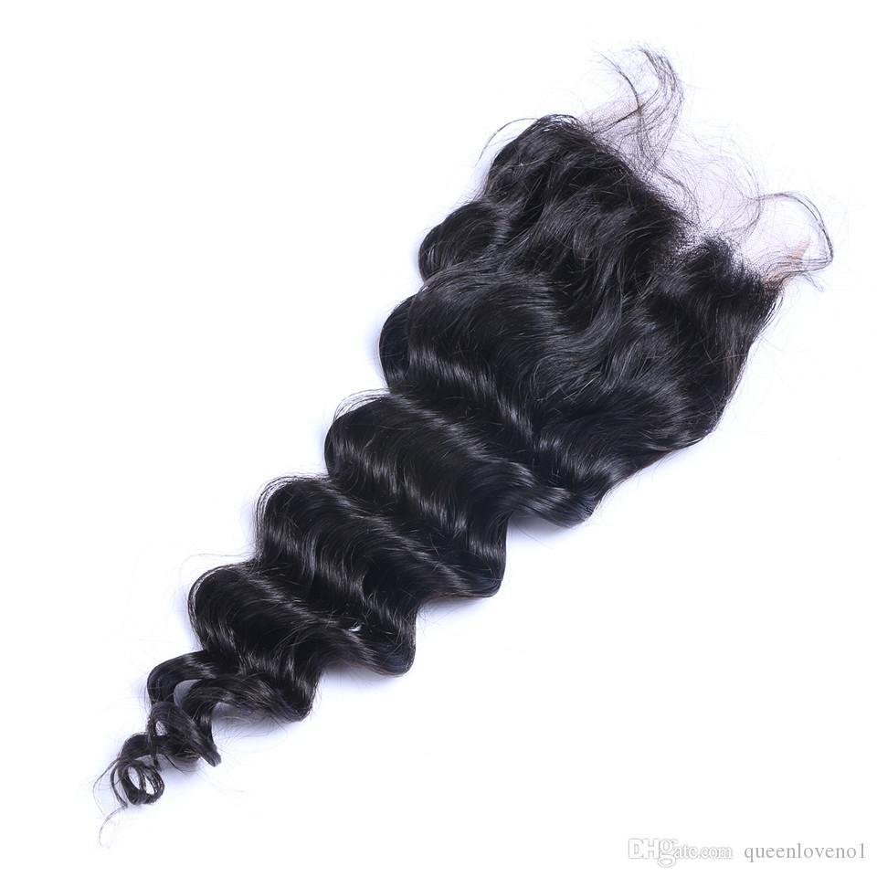 느슨한 깊은 물결 4x4 인간의 머리카락 레이스 클로저 자연 검은 표백 매듭 사전 뽑아 낸