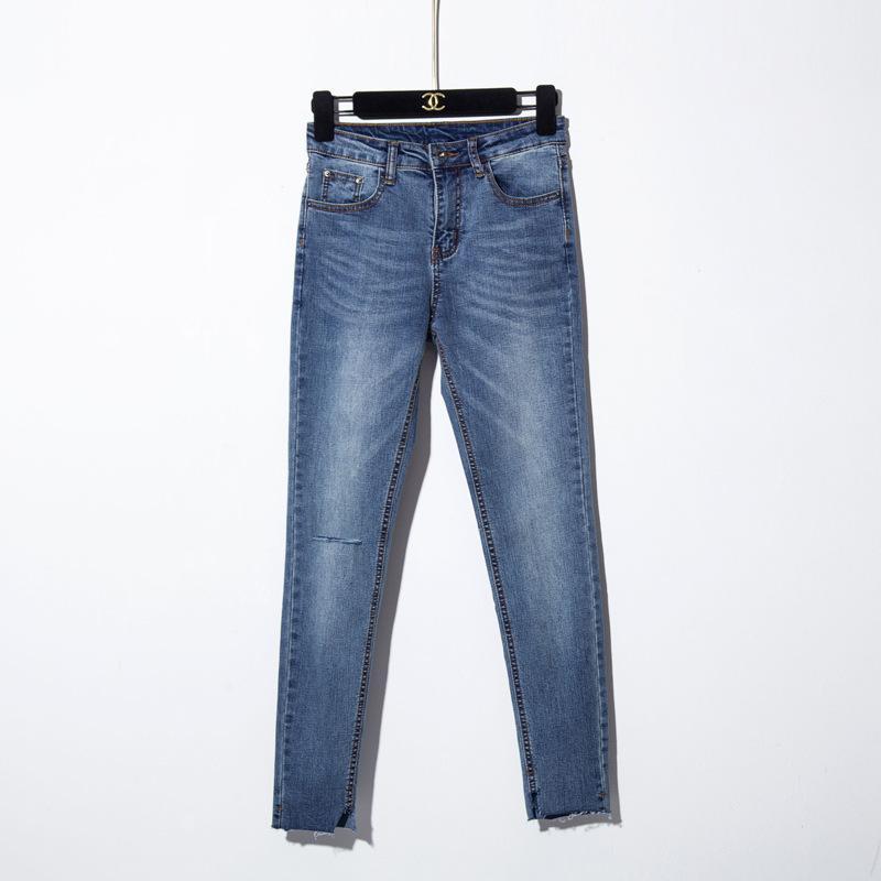 7963406dff81c Acheter Bleu Jeans Maigre Femme Avec Des Trous Mince Crayon Denim Pantalon  Déchiré Jeans Pour Femmes Taille Haute Stretch Capris Dames Jean Femme De  $29.56 ...