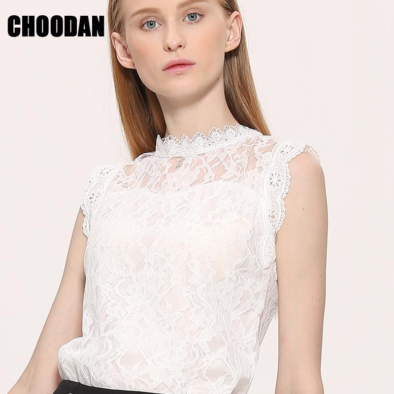 Blusa de encaje Camisa Mujer Estilo de verano Blusas 2017 Nuevo Coreano Sin mangas Sólido Ahueca hacia fuera Rosa Azul Blanco Negro Top de encaje Mujer