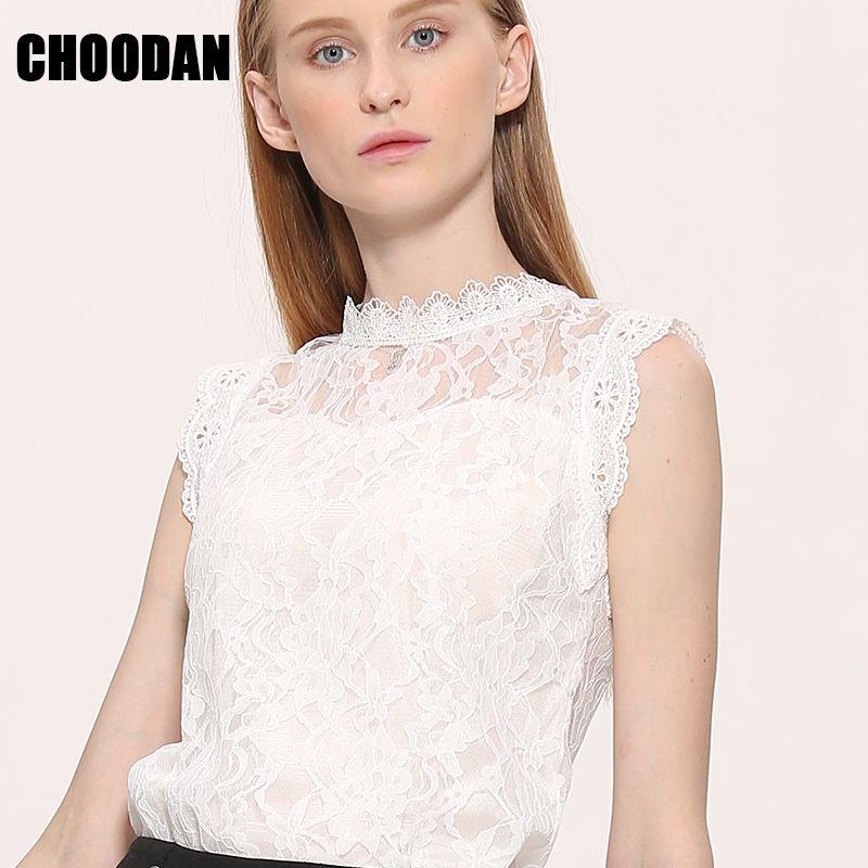 Chemisier en dentelle chemise femmes style été blouses 2017 nouvelle coréenne sans manches solide évider rose bleu blanc noir dentelle top femelle
