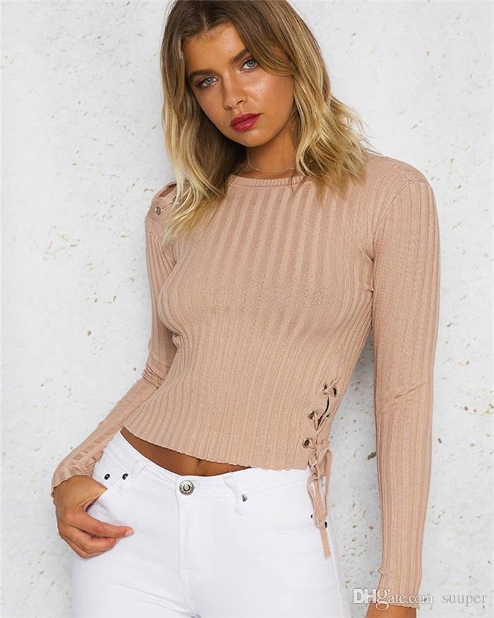 2018 Spring Autumn Thin Knitted Sweater Crop Top Women Chic Lace Up Sexy  Hollow Shoulder Long Sleeve Bandage Bodycon Jumper Tee Shirt T Shirt Buy  Online ... 222281b27