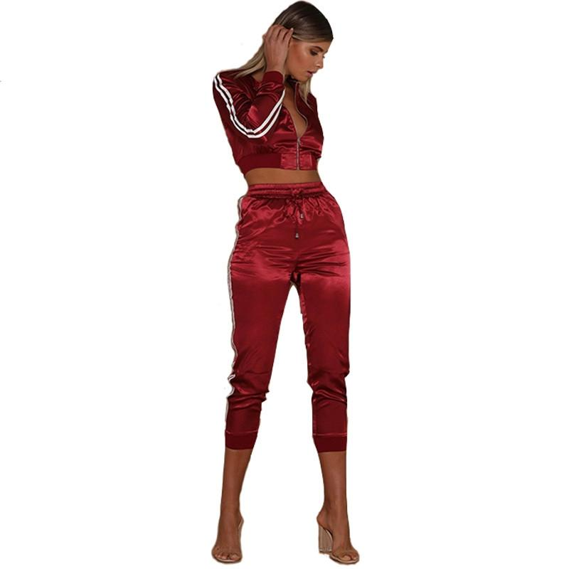 b5d9dd5413c 2019 Women Tracksuit Satin Two Piece Set Pants Cropped Tops Side Striped  Women Tops Pants Sets Conjunto Feminino Short E Blusa Female From  Clothingdh