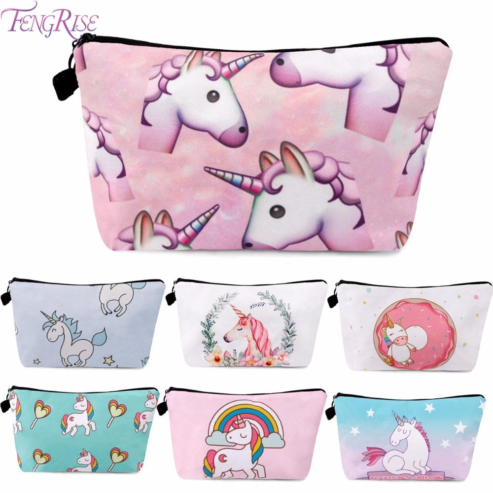 Fengrise Unicorn Cosmetic Bags 3d Printing Girls Lady Makeup Bags ...
