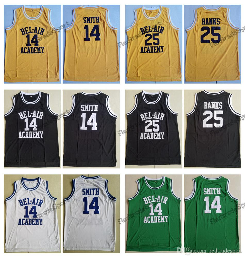 8b0ff382cd8e 2019 Mens The Fresh Prince Of Bel Air  14 Will Smith Academy Basketball  Jerseys 25 Carlton Banks Stitched Shirts S XXL From Redtradesport