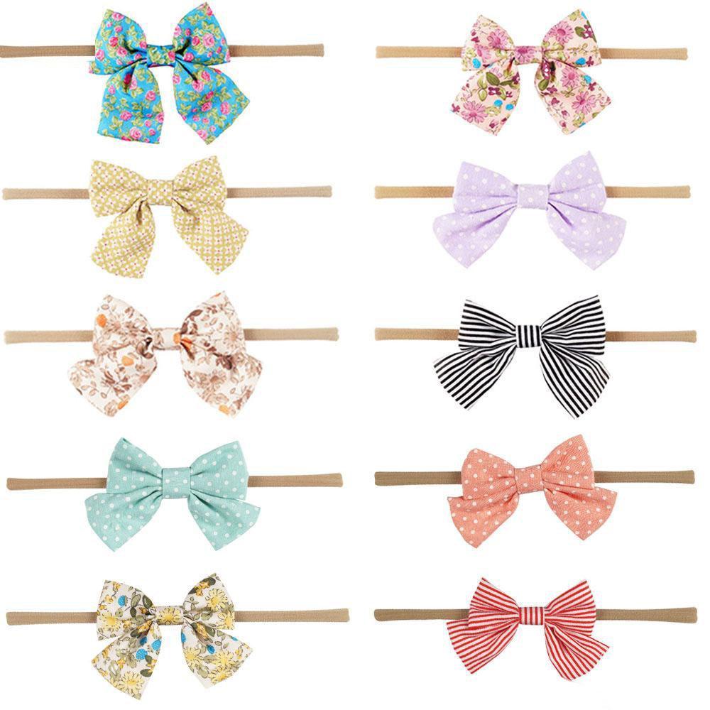 Boutique Zubehör Baby Nylon Stirnbänder Haarschmuck Polka Dots Stripes Print Elastische Stirnbänder Girl Bow 2017