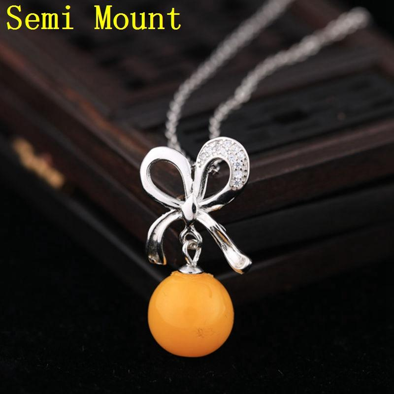 Fine Silver 925 Sterling Silver Pendant 7-11mm Pearl or Round Bead Semi Mount Pendant Crystal for Women DIY Stone Jewelry Setting