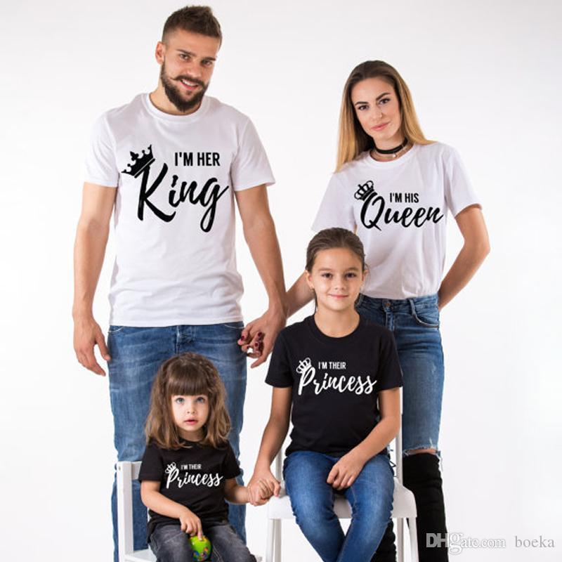 d3538bbe61 2018 Summer Matching Family Clothes Casual Solid Short Sleeve Cotton T  Shirt King Queen Couples T Shirt Crown Printed Funny Tops 10 T Shirts Cool  Shirts ...