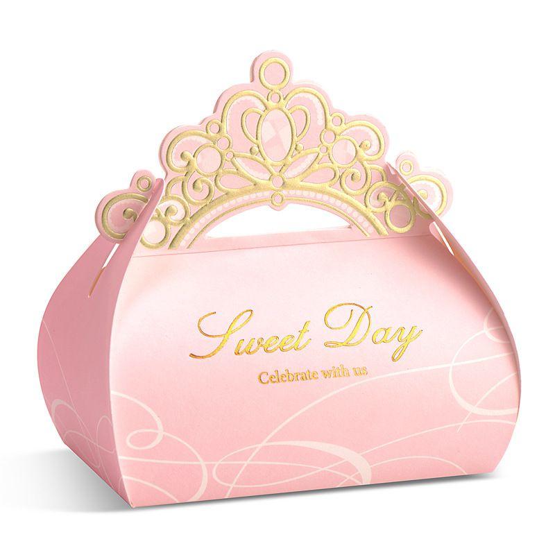 2018 Cute Pink Crown Shape Diy Wedding Gift Cholocate Favor Holders