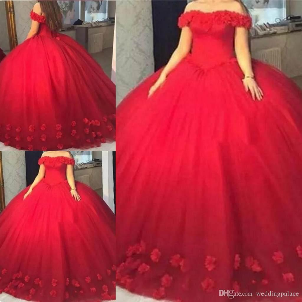 Beautiful Red Ball Gown Quinceanera Dresses Appliques