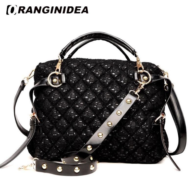 Women Handbags Lozenge Sequins Top-handle Tote Bag Fashion Large Capacity Shoulder Crossbody Bag Black