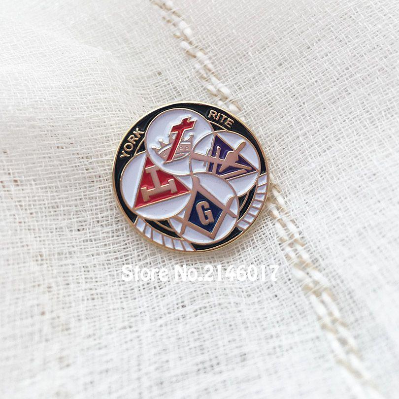 50pcs Custom Masonic Enamel Brooches and Pins Free Masons Knights Templar  YORK RITE Freemason Lapel Pin Badges Metal Masonry