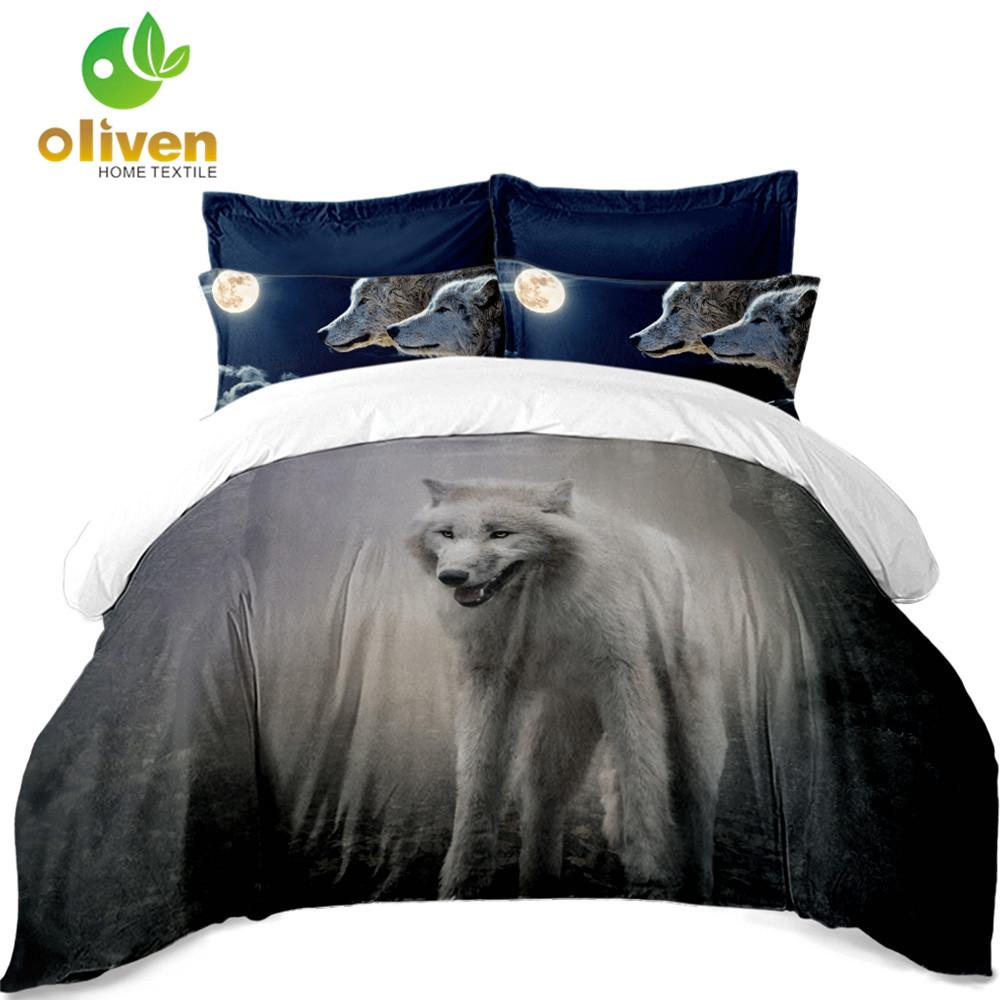 Wolf Sheep Bedding Set Animal Print Duvet Cover Bed Sheets Flat