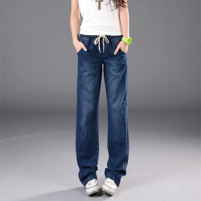 e83a2dac9187 Acheter Pantalon Large Jeans Femmes Plus La Taille Lâche Denim Baggy Jeans  Élastique Taille Haute Long Pantalon Pour Femmes Pantalons Femme Bas De   46.1 Du ...